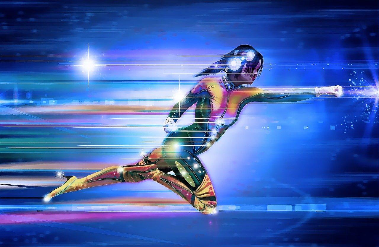 Dessin digital : Femme en combinaison héro vol tel superman avec un casque, sur un fond bleu type cyber. Image style Cyber.