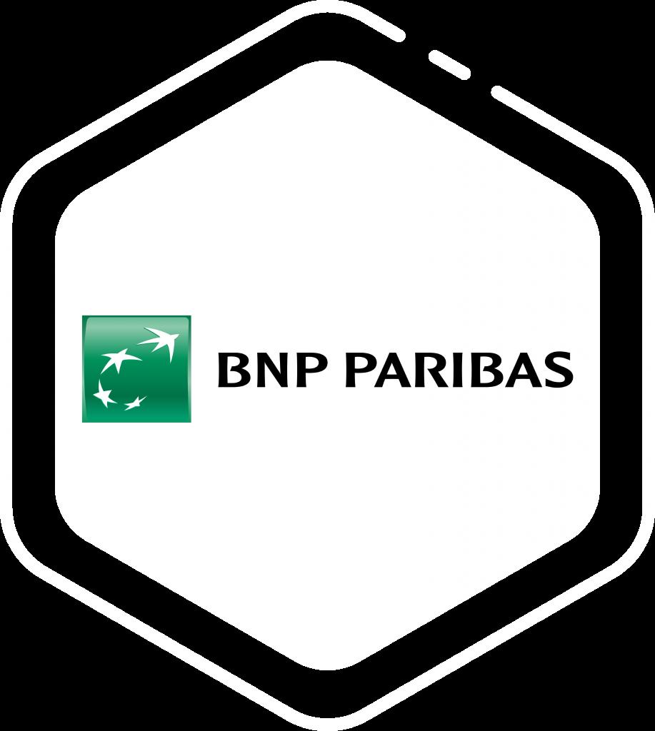 Logo client BNP Paribas sur forme hexagone blanche