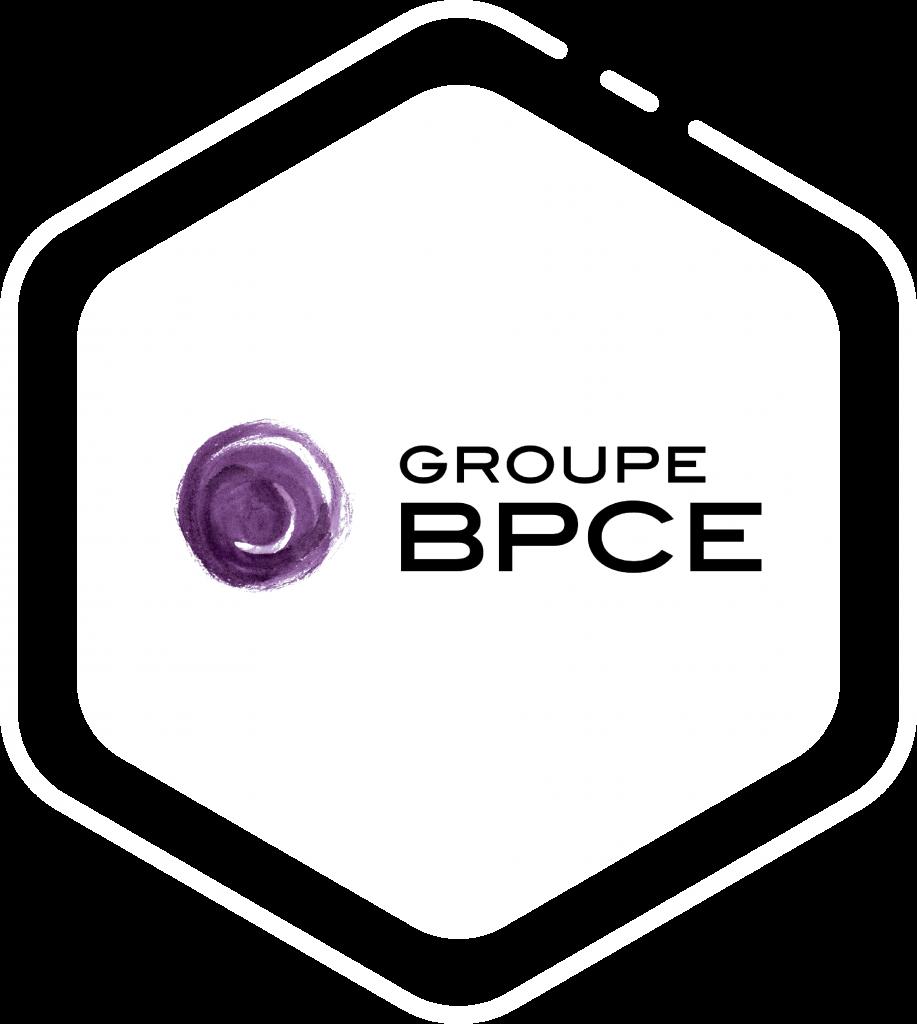 Logo client Groupe BPCE sur forme hexagone blanche