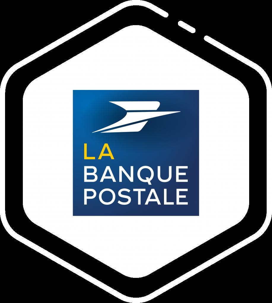 Logo client La Banque Postale sur forme Hexagone blanche