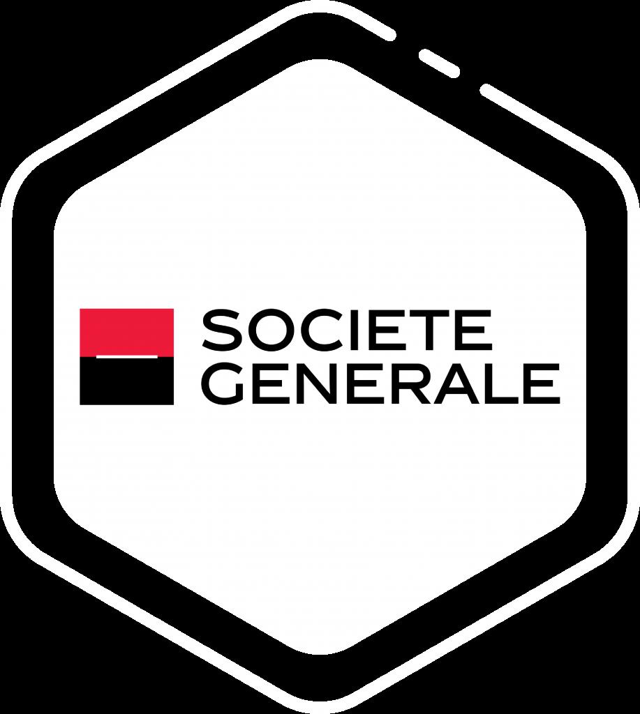 Logo client Société Générale sur forme hexagone blanche